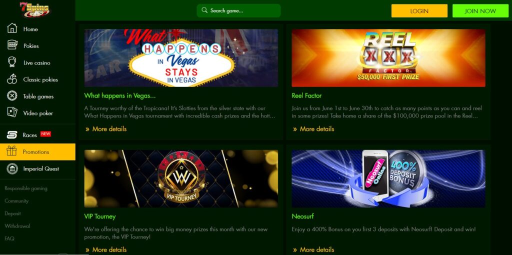 7spins Casino Promotions